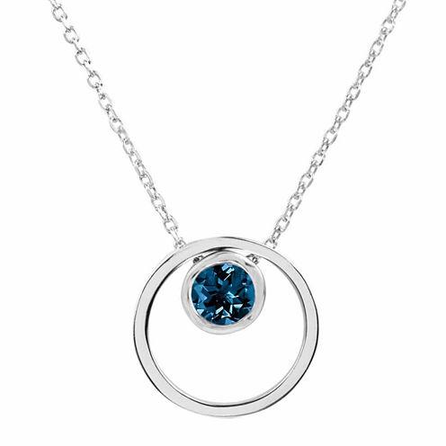 London Blue Topaz Sterling Silver Double Circle Pendant Necklace