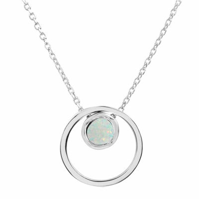 Lab-Created Opal Sterling Silver Double Circle Pendant Necklace