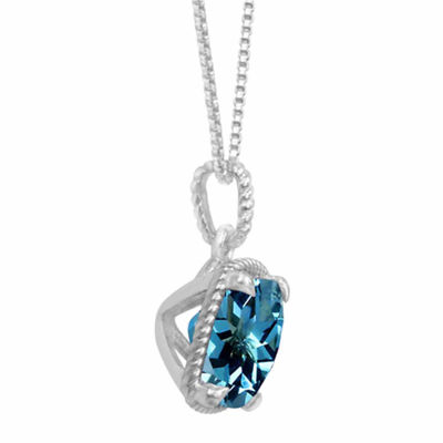 Genuine Blue Topaz Sterling Silver Cushion Pendant Necklace