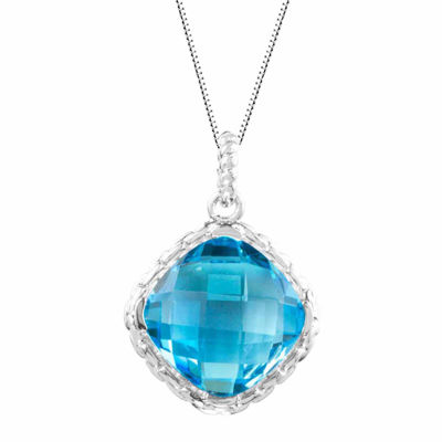 Genuine Blue Topaz Sterling Silver Cushion Halo Pendant Necklace