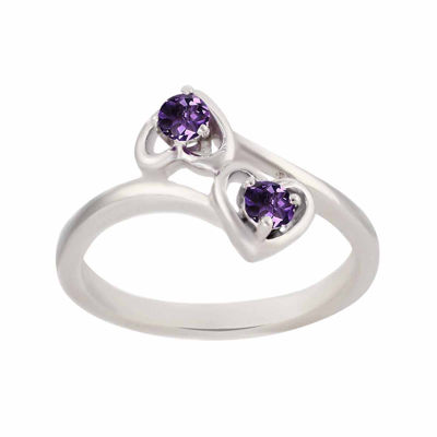 Genuine Amethyst Sterling Silver Two Heart Ring