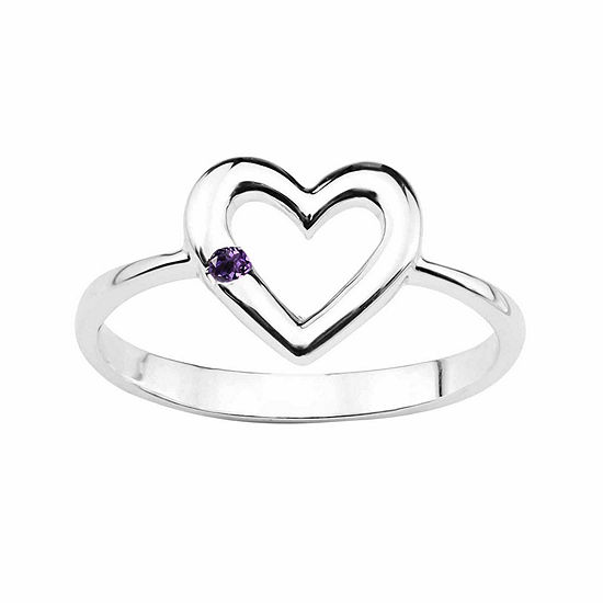 Genuine Amethyst Sterling Silver Heart Ring