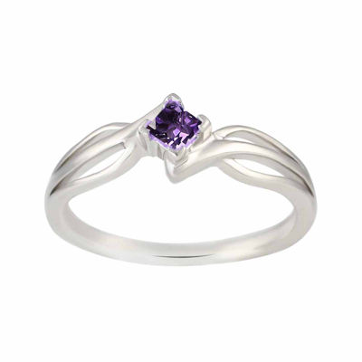 Genuine Amethyst Sterling Silver Princess Cut Ring