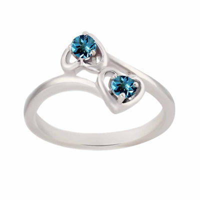 Genuine Blue Topaz Sterling Silver Two Heart Ring