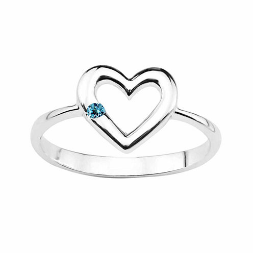 Genuine Blue Topaz Sterling Silver Heart Ring