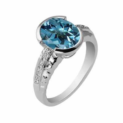 Genuine Blue Topaz Sterling Silver Oval Ring