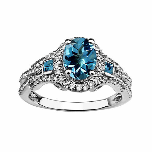 Genuine Swiss Blue Topaz And Created White Sapphire Sterling Silver Ring