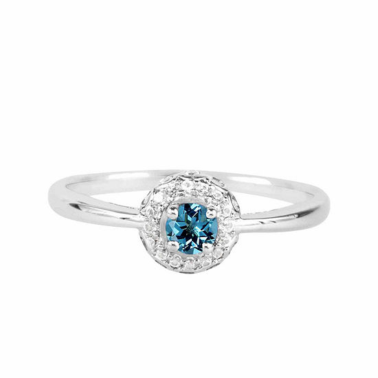 Genuine Blue Topaz And Lab-Created White Sapphire Sterling Silver Halo Ring
