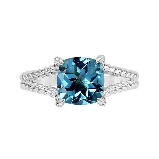 Genuine Blue Topaz Sterling Silver Cushion Ring