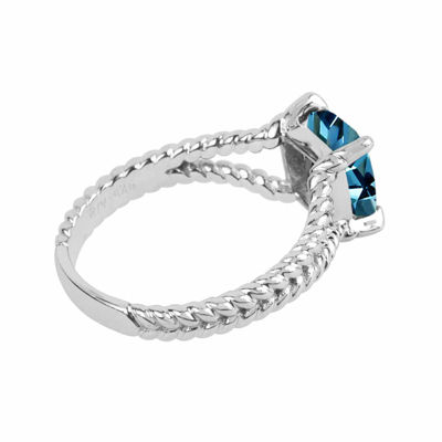 Genuine Blue Topaz Sterling Silver Cushion Ring