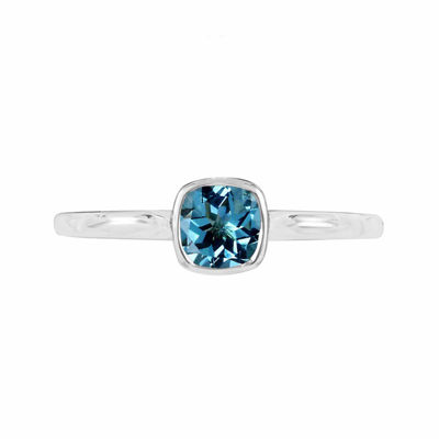 Genuine Blue Topaz Sterling Silver Checkerboard Cushion Ring