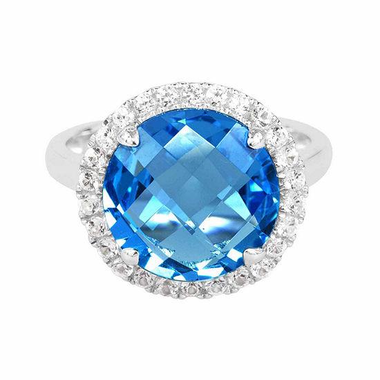 Genuine Blue Topaz Sterling Silvercushion Ring