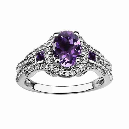 Genuine Amethyst And Created White Sapphire Sterling Silver Ring
