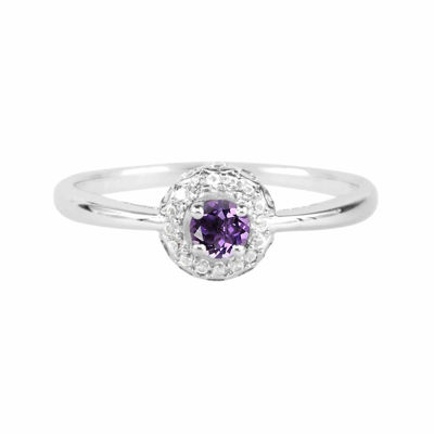 Genuine Amethyst And Lab-Created White Sapphire Sterling Silver Halo Ring