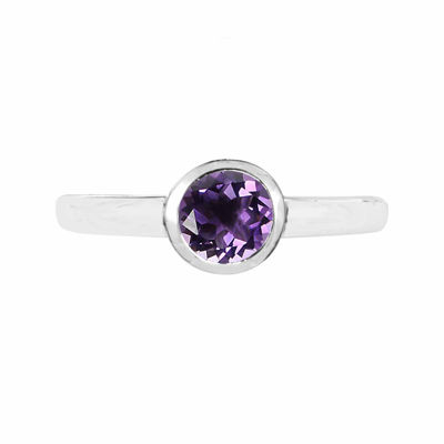 Amethyst Sterling Silver Bezel Set Ring