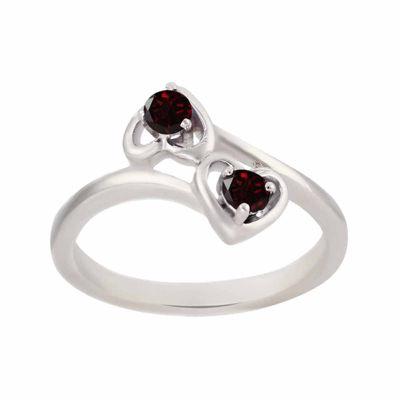 Genuine Garnet Sterling Silver Two Heart Ring