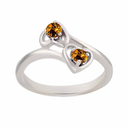 Genuine Citrine Sterling Silver Two Heart Ring