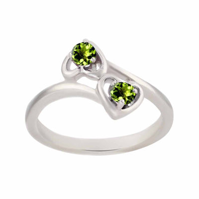 Genuine Peridot Sterling Silver Two Heart Ring
