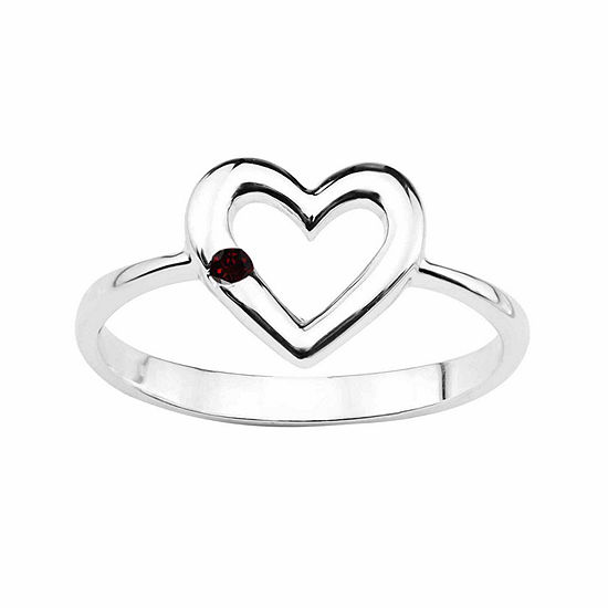 Genuine Garnet Sterling Silver Heart Ring