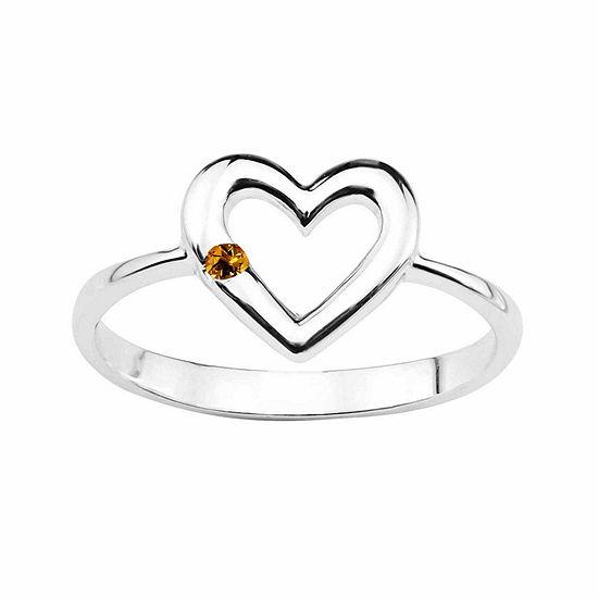 Genuine Citrine Sterling Silver Heart Ring