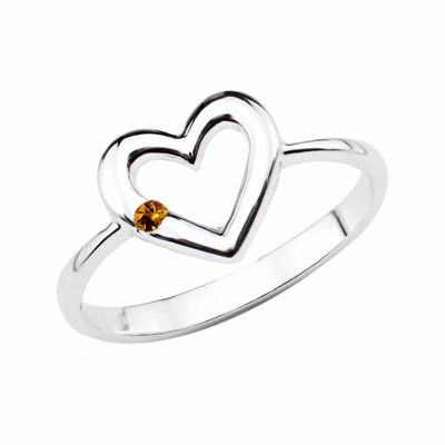 Genuine Citrine Sterling Silver Heart Ring