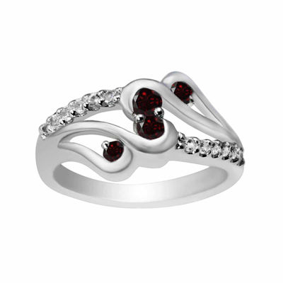 Genuine Garnet And Lab-Created White Sapphire Sterling Silver Ring