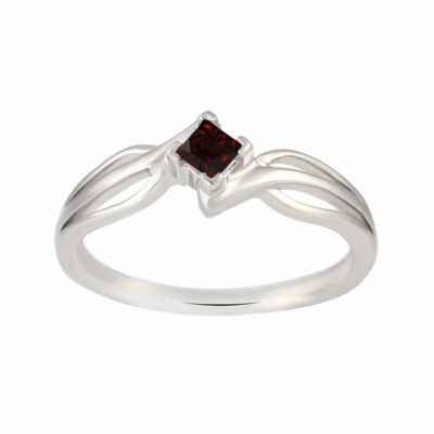 Genuine Garnet Sterling Silver Princess Cut Ring