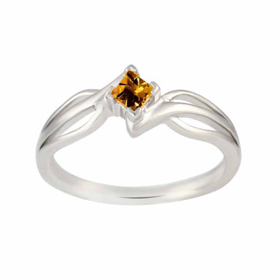 Genuine Citrine Sterling Silver Princess Cut Ring