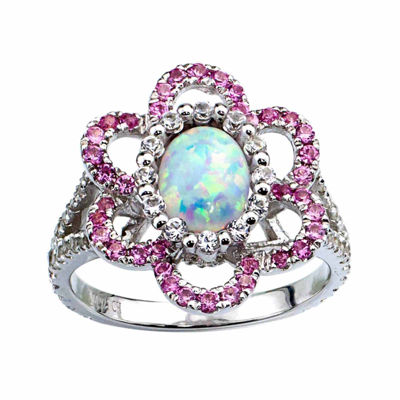 Lab-Created Opal And Lab-Created Pink Sapphire Sterling Silver Flower Ring