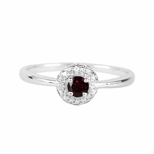 Genuine Garnet And Lab-Created White Sapphire Sterling Silver Halo Ring