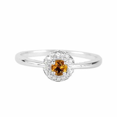 Genuine Citrine And Lab-Created White Sapphire Sterling Silver Halo Ring