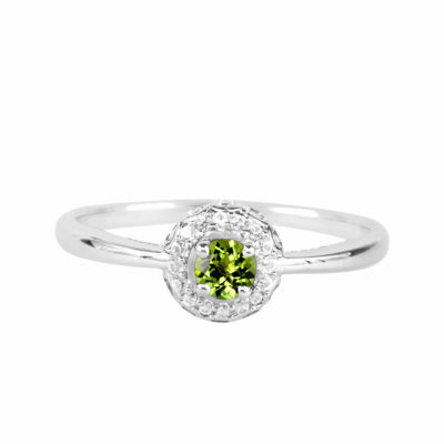 Genuine Peridot And Lab-Created White Sapphire Sterling Silver Halo Ring