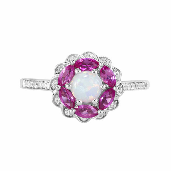 Lab-Created Opal, Lab-Created Pink Sapphire And Lab-Created White Sapphire Sterling Silver Ring