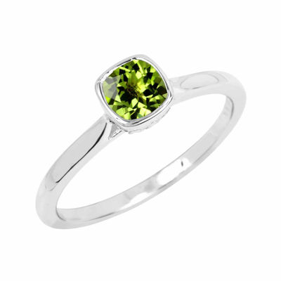 Genuine Peridot Sterling Silver Checkerboard Cushion Ring