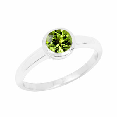 Genuine Peridot Sterling Silver Bezel Set Ring