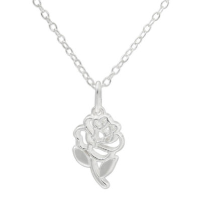 Disney Beauty And The Beast Sterling Silver Rose Pendant Necklace