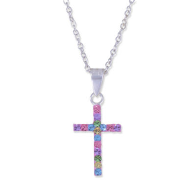 Children's Sterling Silver Rainbow Crystal Cross Pendant Necklace
