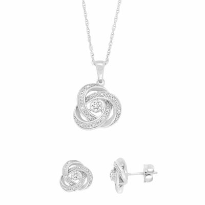 Diamond Blossom 1/10 C.T. T.W. Diamond Sterling Silver 2-pc. Earrings And Pendant Necklace Set