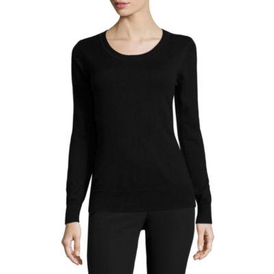 Worthington Long Sleeve Crew Neck Pullover Sweater-Talls