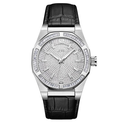 JBW Diamond Mens Black Strap Watch-J6350a