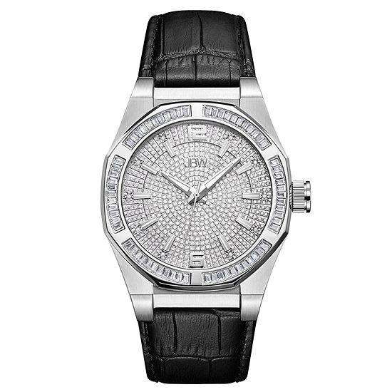 JBW Diamond Mens Diamond Accent Black Leather Strap Watch-J6350a