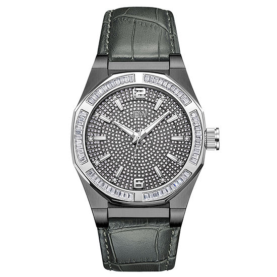 JBW Diamond Mens Diamond Accent Gray Leather Strap Watch-J6350c