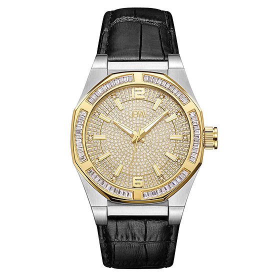 JBW Diamond Mens Diamond Accent Black Leather Strap Watch-J6350e