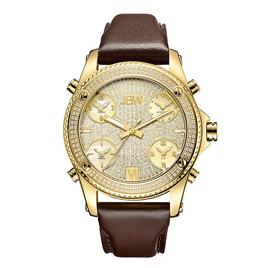 JBW Diamond Mens Multi-Function Diamond Accent Gold Tone Leather Strap Watch-J6354a