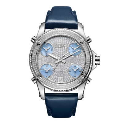 JBW Diamond Mens Multi-Function Diamond Accent Silver Tone Leather Strap Watch-J6354b