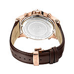 JBW Diamond Mens Multi-Function Diamond Accent Rose Goldtone Leather Strap Watch-J6354c