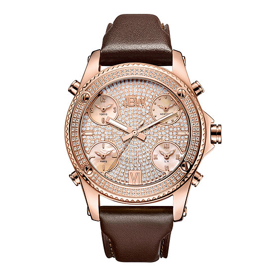 JBW Diamond Mens Multi-Function Diamond Accent Rose Goldtone Leather Strap Watch-J6354c