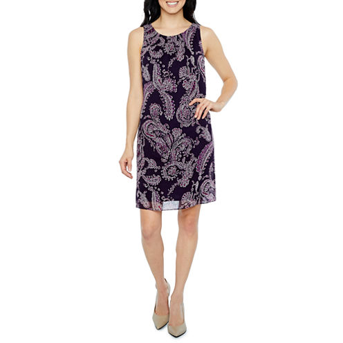 Robbie Bee Sleeveless Paisley Shift Dress