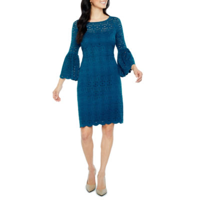 Ronni Nicole 3/4 Sleeve Lace Medallion Shift Dress