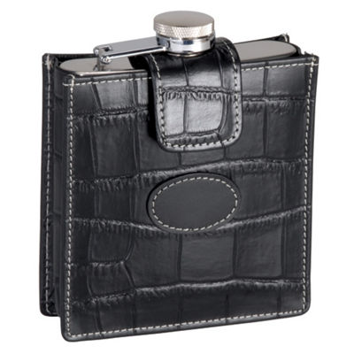 Royce Leather Crocodile Embossed 5 Ounce Stainless Steel Flask